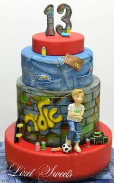Graffiti Cake Dance Party Birthday Cool Cakes Toppers Teen Boy