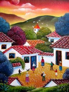 The landscape by Gabriel Nieto Art Péruvien, Flor Iphone Wallpaper, Colombian Art, Mexican Paintings, Peruvian Art, Fantasy Paintings, Naive Art, Mexican Art, Aboriginal Art