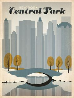 New York's Central Park: Early Snow  2012 by SHELBY RODEFFER  After winning international acclaim for creating the Spirit of Nashville Collection, designer and illustrator Joel Anderson set out to create a series of classic travel posters that celebrates the history and charm of America's greatest cities. This peaceful print features an early snowfall in New York City's Central park while fall leaves are still on the trees.