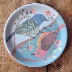 Cute ceramic bird plate.