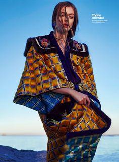 Lone Praesto poses in Gucci embroidered kimono and Eddie Borgo choker necklace