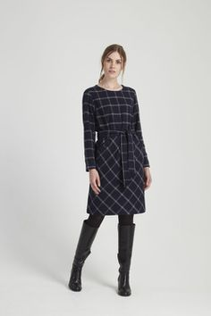 Rosita Checked Dress in navy by People Tree