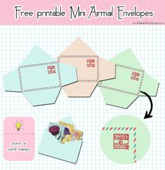 free printable mini airmail envelopes