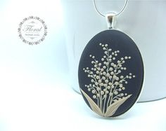 Girlfriend Gift-Flower Necklace-Romantic Jewelry for Wife-Romantic Wife Gift-Lily of the Valley Jewelry-Gift for Wife-Lily Flower Jewelry Polymer Clay Pendant, Polymer Clay Jewelry, Style Boho, Boho Chic, Jewelry For Her, Jewelry Gifts, Polymer Clay Embroidery, Girls Necklaces, Gifts For Wife