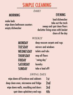 Easy to follow weekly cleaning list