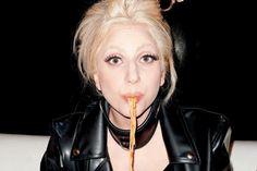 Lady GAGA eating spaghetti.