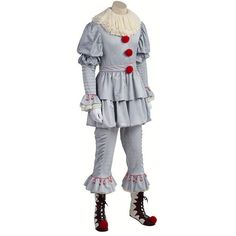 Stephen King's It Pennywise Cosplay ($289) ❤ liked on Polyvore featuring costumes, cosplay costumes, role play costumes and cosplay halloween costumes