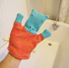 Hippo Organic Bath Wash Cloth Mitt by ecoleeko on Etsy, $14.00