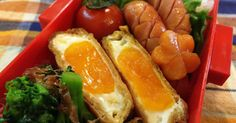 Fry tofu egg with sauce : Chili grilled egg Pong ♪ to also ♪ fried easy lunch Bento Box Lunch, Hot Dog Buns, Tofu, Carrots, Sausage, Fries, Grilling, Brunch, Cooking Recipes