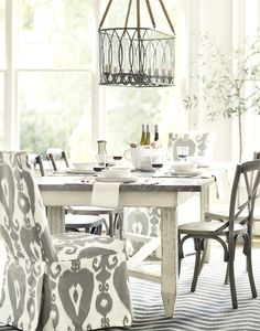 Gray and White Dining Room from Ballard Designs