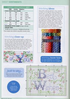 Cross-stitch Thinking of You, part 5..  color charts on part 3 & 5...