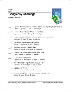 10 Worksheets That Will Teach Your Child Basic Geography Terms ...