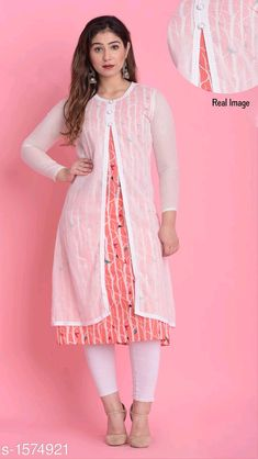 Women Printed Cotton Kurti Fabric: Cotton Sleeves: full Sleeves Are Included Size: (Refer Size Chart) Type: Stitched. Stylish Dresses For Girls, Girls Dresses, Summer Dresses, Kurti With Jacket, Beautiful Dress Designs, Frock For Women, Side Slit Dress, Kurti Patterns, Plus Size Designers