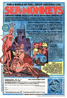 Sea-Monkeys. How many of us fell for this, saved up our pennies and bought them? what a colossal disappointment. My first realization that advertising lies.
