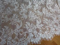 CHANTILLY Fabric Unique White Wedding Dress Lace Fabric for Bridal, Mantilla , Wedding Bolero or Sheer curtain