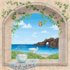 Painted by Dina Farris Appel, the Baja Vista wall mural from Murals Your Way will add a distinctive touch to any room. Choose a pre-set size, or customize to your wall. Mural Painting, Mural Art, Wall Murals, Decoupage, Murals Your Way, Creation Photo, Canvas Artwork, Street Art, Scenery