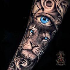 Tiger Eyes Tattoo, Lion Arm Tattoo, Realistic Tattoo Sleeve, Lion Forearm Tattoos, Animal Sleeve Tattoo, Lion Tattoo Sleeves, Lion Head Tattoos, Mens Lion Tattoo, Best Sleeve Tattoos