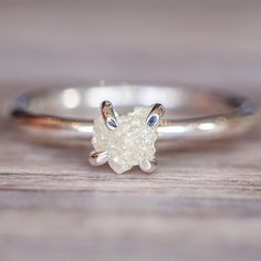 Raw White Diamond Ring | Bohemian Gypsy Jewels | Indie and Harper