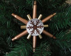 Rustic Snowflake Ornament - Used Bullet - Recycled Gun Shell Casings - Copper - Brass