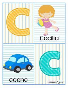 Tarjetas para trabajar el abecedario - Imagenes Educativas Alphabet Letters Images, Alphabet Cards, Pre Kindergarten, Teaching Materials, Future Baby, Homeschool, Baby Boy, Classroom, Activities