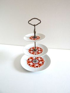 Vintage 70s 3 Tiers Cake Stand - Retro Cup Cakes Display - German Porcelain Cake Plate with Orange Flowers Decor