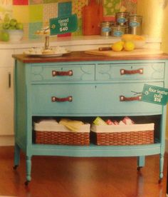 Dresser turned kitchen island. Love the pop of color and keeping the natural wood top.