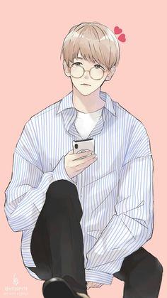 Cre: the owner/as logo Baekhyun Fanart, Chanbaek Fanart, Kpop Fanart, Baekyeol, Chanyeol, Cute Anime Boy, Anime Guys, Exo Cartoon, Exo Anime