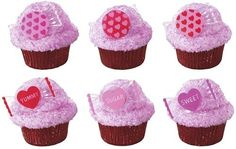 These Sweet Candy Cupcake Rings feature assorted colors and sweet sayings on heart shaped rings for your Valentine's cupcake treats. Unicorn Cupcakes Toppers, Unicorn Cake Topper, Disney Frozen Cupcakes, Cake Pop Favors, Candy Themed Party, Silhouette Wedding Cake, Ring Cake, Valentines Day Cakes, Bird Cakes