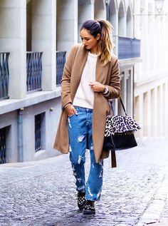 8 Lazy Weekend Outfits That Still Look Put Together Never been a fan of the ripped jean look. I would wear the same style jean cut, just without the thread bare look. This is a cashmere coat for Spring.