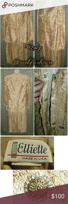 """🆕 LISTING!! VINTAGE GOLDEN LACE DRESS SUIT! Stunning!! Perfect condition!! Vintage lace dress suit in shimmering gold!!  Blazer has 3 hidden snap button closures, 2 beautiful button accents, shoulder pads is fully lined. Length of blazer 27"""" bust is 40"""" waist is 36"""" sleeves are 23"""". Skirt has elastic waist with back zip and hook closure. Length is 28"""" waist is 23-28"""" hips are 42"""" high waisted. Suit is made to be loose fitting and comfortable. Fully lined! Miss Elliette Jackets & Coats…"""