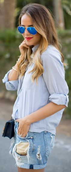 Rag & Bone Blue Destroyed Denim Rolled Cuff Boyfriend Shorts by Gal Meets Glam ** cottage look** Short Outfits, Summer Outfits, Casual Outfits, Cute Outfits, Looks Style, Style Me, Blue Style, Look Con Short, Estilo Jeans