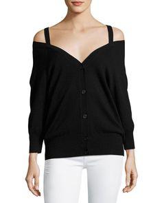 THEORY Saline B Cashmere Cold-Shoulder Cardigan, Black. #theory #cloth #