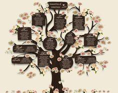 Árbol tabla Plan DIY de boda para imprimir Árbol de asientos