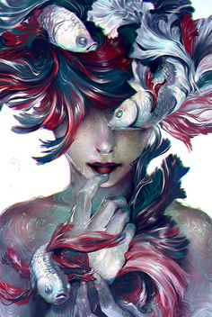 "yuumei-art: "" These Lies Swimming, glistening around my mind A beautiful mask Covering my skin The artificial taste Addicting, adhering, advancing And now I've lost myself ______________________ A. Yuumei Art, Bel Art, Digital Art Girl, Digital Art Fantasy, Fantasy Artwork, Fish Art, Surreal Art, Art Inspo, Amazing Art"