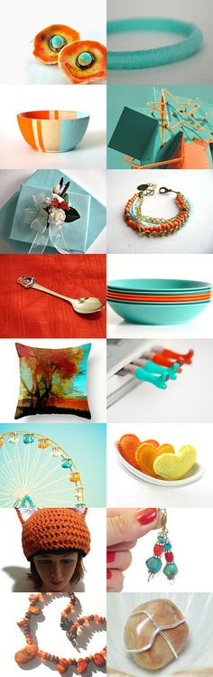 Celosia orange and turquoise by Krysthle Poitras on Etsy--Pinned with TreasuryPin.com