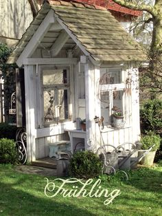 Landliebe Cottage Garden Shed Outdoor Rooms, Outdoor Gardens, Outdoor Living, Outdoor Sheds, Shed Design, Garden Design, Design Design, Greenhouse Shed, Potting Sheds