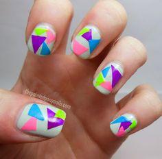 neon triangle nails