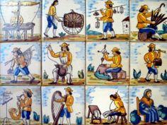 Suite de 12 azulejos pintados a mano describiendo oficios tradicionales españoles. Informes:integradoradeartedelnoreste@gmail.com