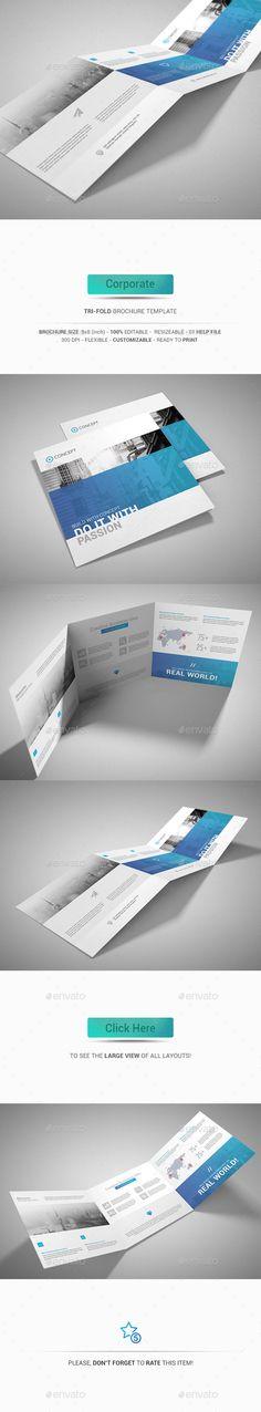Fashion Square TriFold Brochure Design Template Corporate - Tri fold brochure template photoshop
