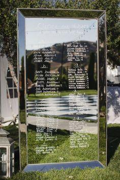 Coloca un espejo con los nombres de cada uno de los invitados.