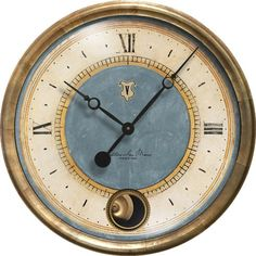 Caffe Venezia Cream Clock has a brass pendulum and runs on a quiet quartz movement from Trademark Time Co.
