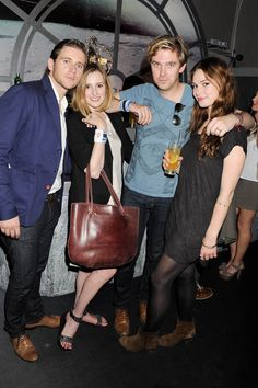 Allen Leech, Laura Carmichael, Dan Stevens, and Lily James in Matthew And Mary, Matthew Crawley, Laura Carmichael, Dan Stevens, You're Hot, Lily James, Movie Costumes, Hollywood Actor, Period Dramas