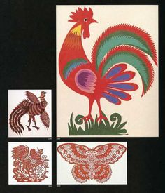 This Polish rooster is visiting with a Chinese bird and butterfly and with a rooster from Indonesia.