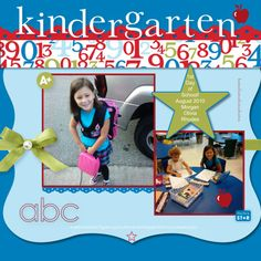 Image detail for -Stampin For Me: First Day of Kindergarten Scrapbook Page