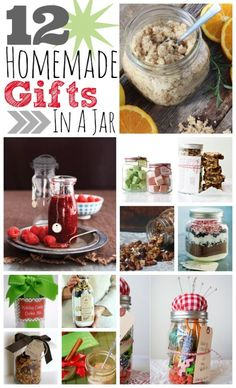 12 Homemade Gifts In A Jar~T~ Some great ideas. Diy Sugar Scrub, Homemade Granola, S'mores in a Jar, Chocolate Chip Oatmeal Bread. A Sewing Kit in a Jar, Bath Fizzies, Peppermint Stick Cocoa, Trail Mix, Holiday Candy Cookie mix, Homemade Jellies and Jams, Toffee Blondie Bars and Spiced Tea Mix.