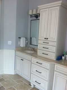 Vanity for girls' bath.  Love the color and design.  Darker countertops, rectangle sinks and prettier mirrors.
