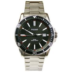 Pulsar PXHA15 Mens Bracelet Watch Black Dial and Bezel Stianless Steel Pulsar. $64.95. Water Resistant 100 Meters. Black Numeral Bezel. Pulsar Mens Watch. Quartz Movement with Date. Stainless Steel Case and Band