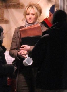 Jennifer Lawrence was in costume on the set of Joy in Boston on Thursday.