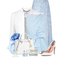 """""""Summer Blue Office Style"""" by kginger on Polyvore"""