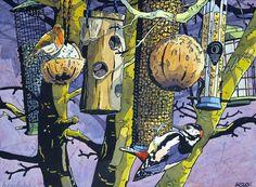 Andrew Haslen (linocut and watercolor)